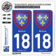 2 Autocollants plaque immatriculation Auto 18 Meillant - Armoiries
