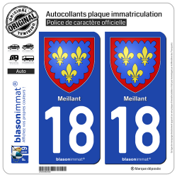 2 Autocollants plaque immatriculation Auto 18 Meillant - Armoiries