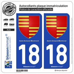 2 Autocollants plaque immatriculation Auto 18 Saint-Amand-Montrond - Armoiries