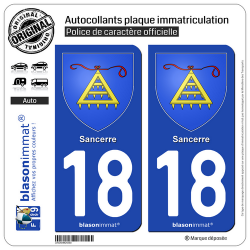 2 Autocollants plaque immatriculation Auto 18 Sancerre - Armoiries