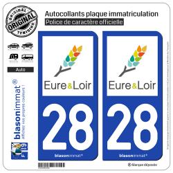 2 Autocollants plaque immatriculation Auto 28 Eure-et-Loir - Tourisme