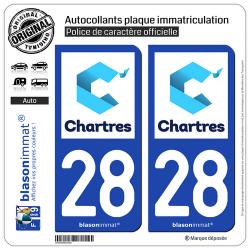 2 Autocollants plaque immatriculation Auto 28 Chartres - Tourisme