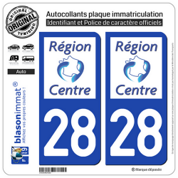 2 Autocollants plaque immatriculation Auto 28 Centre-Val de Loire - LogoType