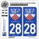 2 Autocollants plaque immatriculation Auto 28 Eure-et-Loir - Armoiries
