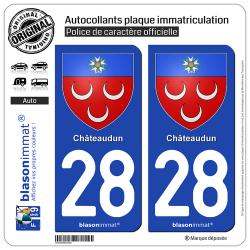 2 Autocollants plaque immatriculation Auto 28 Châteaudun - Armoiries