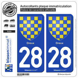 2 Autocollants plaque immatriculation Auto 28 Dreux - Armoiries