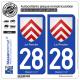 2 Autocollants plaque immatriculation Auto 28 Perche - Armoiries