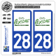 2 Autocollants plaque immatriculation Auto 28 Perche - Pays II