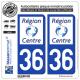 2 Autocollants plaque immatriculation Auto 36 Centre-Val de Loire - LogoType