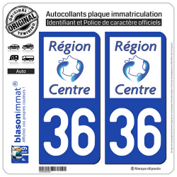2 Autocollants plaque immatriculation Auto 36 Centre-Val de Loire - LogoType