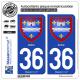 2 Autocollants plaque immatriculation Auto 36 Indre - Armoiries