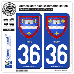 2 Autocollants plaque immatriculation Auto 36 Indre - Armoiries