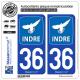 2 Autocollants plaque immatriculation Auto 36 Indre - Département