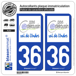 2 Autocollants plaque immatriculation Auto 36 Castelroussin - Pays