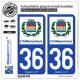 2 Autocollants plaque immatriculation Auto 36 Châteauroux - Ville