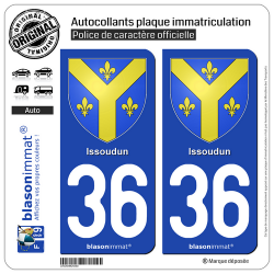 2 Autocollants plaque immatriculation Auto 36 Issoudun - Armoiries
