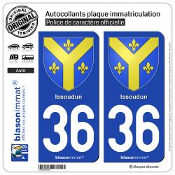 2 Autocollants plaque immatriculation Auto 36 Issoudun - Armoiries