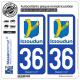 2 Autocollants plaque immatriculation Auto 36 Issoudun - Ville