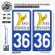 2 Autocollants plaque immatriculation Auto 36 Issoudun - Agglo
