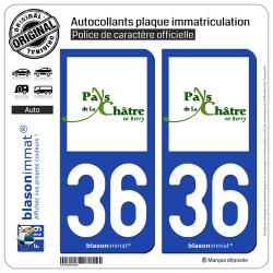2 Autocollants plaque immatriculation Auto 36 La Châtre - Agglo