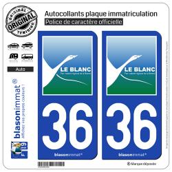 2 Autocollants plaque immatriculation Auto 36 Le Blanc - Ville