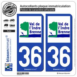 2 Autocollants plaque immatriculation Auto 36 Val de l'Indre Brenne - Agglo