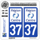 2 Autocollants plaque immatriculation Auto 37 Centre-Val de Loire - LogoType