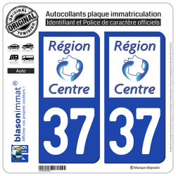2 Autocollants plaque immatriculation Auto 37 Centre-Val de Loire - LogoType
