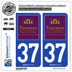 2 Autocollants plaque immatriculation Auto 37 Touraine - Tourisme