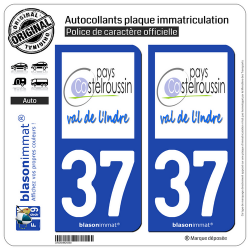 2 Autocollants plaque immatriculation Auto 37 Castelroussin - Pays