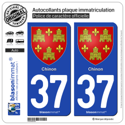 2 Autocollants plaque immatriculation Auto 37 Chinon - Armoiries
