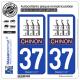 2 Autocollants plaque immatriculation Auto 37 Chinon - Ville