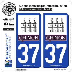 2 Autocollants plaque immatriculation Auto 37 Chinon - Ville