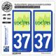 2 Autocollants plaque immatriculation Auto 37 Loches - Ville