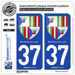 2 Autocollants plaque immatriculation Auto 37 Montlouis-sur-Loire - Armoiries