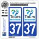 2 Autocollants plaque immatriculation Auto 37 Tours - Agglo