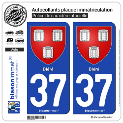 2 Autocollants plaque immatriculation Auto 37 Bléré - Armoiries