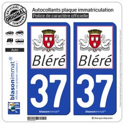 2 Autocollants plaque immatriculation Auto 37 Bléré - Commune