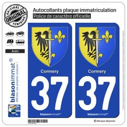 2 Autocollants plaque immatriculation Auto 37 Cormery - Armoiries