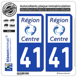 2 Autocollants plaque immatriculation Auto 41 Centre-Val de Loire - LogoType