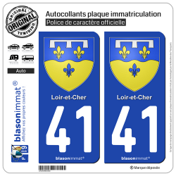 2 Autocollants plaque immatriculation Auto 41 Loir-et-Cher - Armoiries