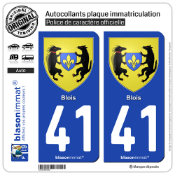 2 Autocollants plaque immatriculation Auto 41 Blois - Armoiries