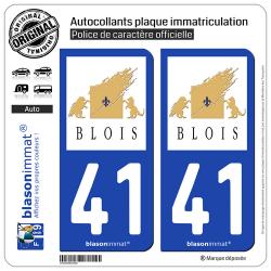 2 Autocollants plaque immatriculation Auto 41 Blois - Ville