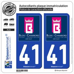 2 Autocollants plaque immatriculation Auto 41 Blois - Tourisme