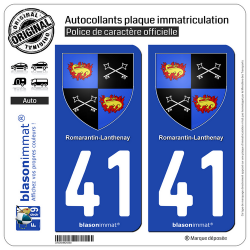 2 Autocollants plaque immatriculation Auto 41 Romorantin-Lanthenay - Armoiries