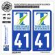 2 Autocollants plaque immatriculation Auto 41 Vendôme - Agglo