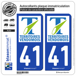 2 Autocollants plaque immatriculation Auto 41 Vendôme - Agglo