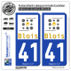2 Autocollants plaque immatriculation Auto 41 Blois - Agglo