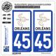 2 Autocollants plaque immatriculation Auto 45 Orléans - Tourisme