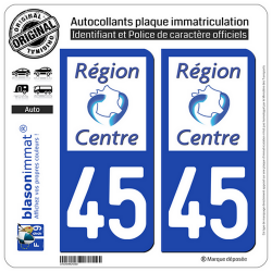 2 Autocollants plaque immatriculation Auto 45 Centre-Val de Loire - LogoType